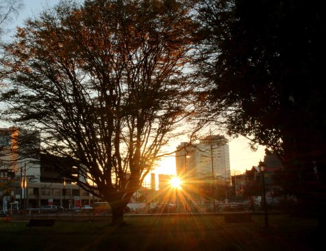 Morning breaks between buildings